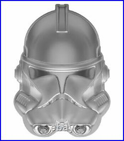 2021 Niue Star Wars Clone Trooper UHR Helmet Shaped 2 oz Silver Frosted $5 Coin