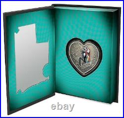 2021 Niue The Nightmare Before Christmas Love is Eternal 1oz Silver Heart Coin