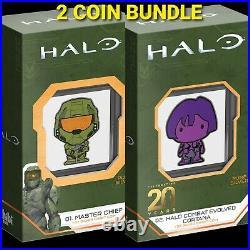 2021 Niue XBOX HALO Master Chief & Cortana 1oz Silver Proof CHIBI Coin Set of 2