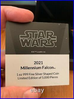2021 Star Wars Millennium Falcon Shaped 1 oz Proof Silver Coin Niue $2