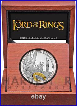 2021 The Lord Of The Rings Sauron 1 Oz. Silver Coin Ogp Coa