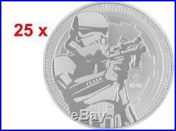 25 x 2 $ Dollar Star Wars Stormtrooper Niue Island 25 x 1 oz Silber 2018 Tube