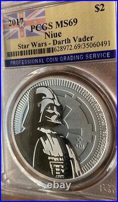 3 2017 PCGS MS 69 1oz Silver Niue $2, Darth Vader Star Wars 3 OZs Total