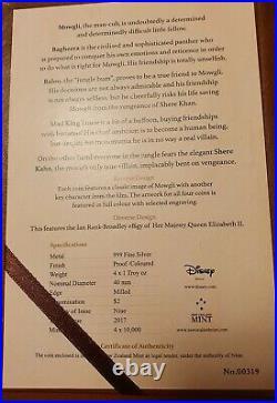 4x 1 Oz Feinsilber 2 $ Dollar NIUE 2017 Disneys Junglebook/DschungelbuchPP/RAR