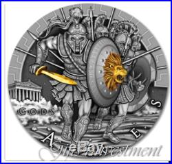 ARES GOD OF WAR series GODS Niue Island $2 Silver Coin 2017 Gold plated 2 oz