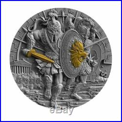 ARES GOD OF WAR series NIUE $2 Silver Coin 2017 Gold plated 2 oz GORGEOUS! Niue