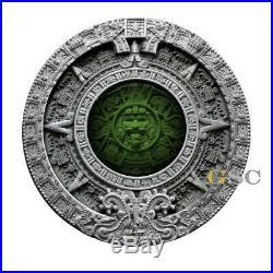 AZTEC CALENDAR 2$ 2oz silver coin Ultra High Relief Antique Niue Island 2019