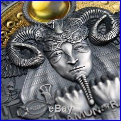 Amun-Ra Divine Faces Of The Sun 3 oz Antique finish Silver Coin 5$ Niue 2020