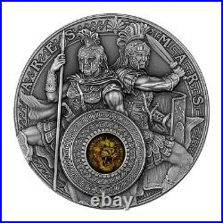 Ares and Mars 2 oz Antique finish Silver Coin 5$ Niue 2021