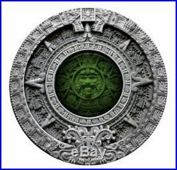 Aztec Calendar 2019 2 Oz $2 Pure Silver High Relief Coin Niue Mint Of Poland