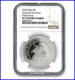 BRITISH TRADE DOLLAR 2018 $1 1 oz Pure Silver Proof Coin NGC PF70UC NIUE
