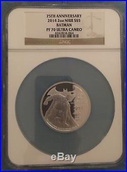 Batman 75th 2 oz PF 70 Silver $5 Coin 2014 Ultra Cameo