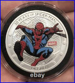 Beautiful 2013 Niue Marvel 50 Years of Spider-Man 1 oz Silver Coin