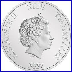 Bullion 2 Dollars Niue 2021 1oz argent BE Ag 999 Sauron, Seigneur des Anneaux