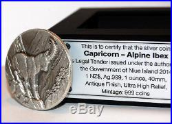 CAPRICORN SWISS WILDLIFE 2$ Niue 2014 Silver Coin Ultra High Relief