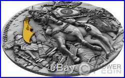 CHINGGIS KHAAN Gengis Gold Plating 2 Oz Silver Coin 5$ Niue 2019