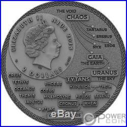 CRONUS Greek Titans 2 Oz Silver Coin 2$ Niue 2018