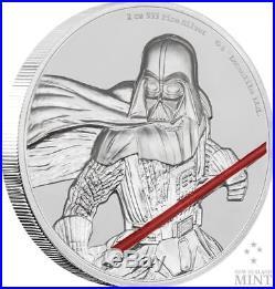 DARTH VADER STAR WARS 2017 2 oz Ultra High Relief Fine Silver Coin Niue