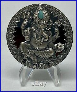 GANESHA 2019 2 oz 2000 Francs Ultra High Relief Black Proof Silver Coin NIUE