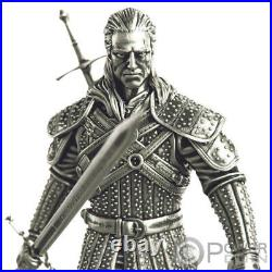 GERALT FROM RIVIA WHITE WOLF The Witcher Book 5 Oz Silver Coin 10$ Niue 2021