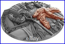 Hades Gods of Olympus $5 2oz Relief Rose Gold Plated Pure Silver Coin Niue 2018