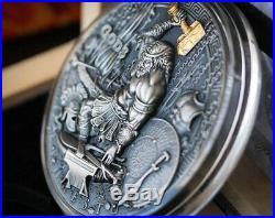 Hephaestus Greek Gods 2019 2 Oz Pure Ultra High Relief Silver Coin Niue Box/coa