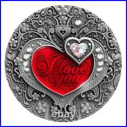 I LOVE YOU HEART CRYSTAL 2020 NIUE 2oz SILVER COIN NGC MS 70 ANTIQUED