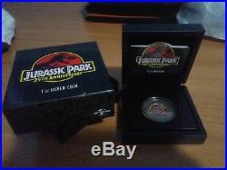 Jurassic Park 25th Anniversary 1 Oz Silver Coin 2$ Niue 2018