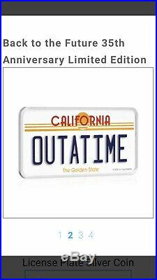 LICENCE PLATE Back To The Future 2 Oz Silver Coin 2$ Niue 2020 VERY RARE