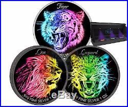 LION LEOPARD TIGER Black Neon Collection 3x 1 Oz Silver Coin 5$ Niue 2016