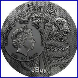 LU BU Warriors of Ancient China Gold Plating 3 Oz Silver Coin $5 Niue 2019