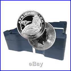 Lot of 100 2017 $2 Niue Silver African Lion. 999 1 oz Brilliant Uncirculated 5