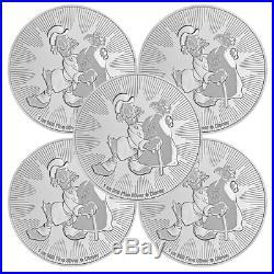 Lot of 5 2018 $2 Niue Silver Scrooge McDuck Disney. 999 1 oz Brilliant Uncircu