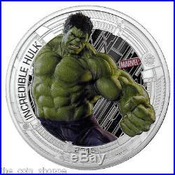 MARVEL AVENGERS 2015 5-Coin 1 oz Color PURE SILVER Coin HULK'S COA NIUE