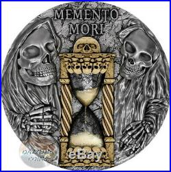 MEMENTO MORI 2 oz Silver Coin with Hourglass inserts $5 Niue 2020