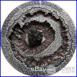 METEORITE CRATER POPIGAI Meteor Silver Coin 1$ Niue Island 2016