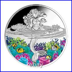 Mermaid 2021 Pure Proof Silver Colored Coin Mint Of Poland Niue