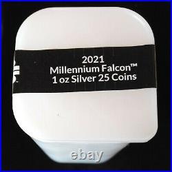 Mint Sealed Tube 25 2021 Niue Star Wars Millennium Falcon 1 Oz Silver Coin Roll