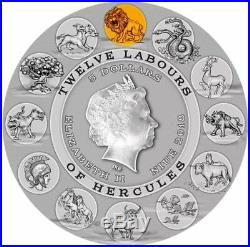 NEMEAN LION Twelve Labours of Hercules 2 Oz Silver Coin 5$ Niue 2018