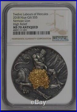 NGC MS70 2018 Niue $5 Nemean Lion TWELVE LABOURS OF HERCULES Silver Coin 2oz