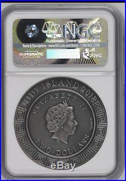 NGC MS70 2018 POSEIDON GOD OF OCEAN 2OZ Silver Coin Untral High Relief Niue