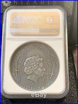 NGC MS70 Assassins Nizaris 2oz Antique Finish Silver Coin 5$ 2019 NGC MS 70 FR