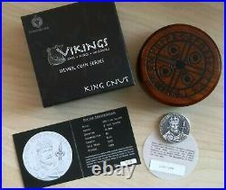 NIUE 2015 2 Oz Silver 2$ KING CNUT Vikings Gods Kings Warriors Coin