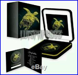 NIUE 2016 1 Oz Silver TAKU TURTLE Ruthenium Coin 24K GOLD GILDED. SOLD OUT