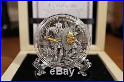 NIUE ISLAND Ares God of War 2oz Silver Coin Antique Finish + Gold Plated