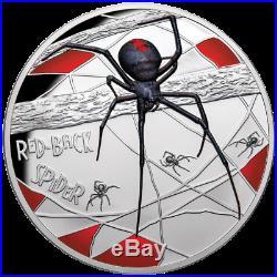 Niue 10 Dollar 2020 Red-Back Spider Jubiläumsausgabe in Farbe 5 Oz Silber PP