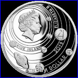 Niue 1 Dollar 2019 Die Sonne Sonnensystem (1.) 1 Oz Silber PP