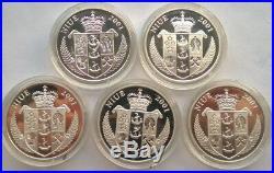 Niue 2002 Pikachu Pokeman 10 Dollars Set of 5 Silver Coins, Proof, Rare