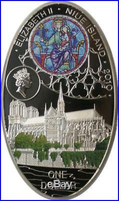 Niue 2010 $ 1 Gothic Cathedrals Notre Dame de Paris 28.28g Silver Proof Coin