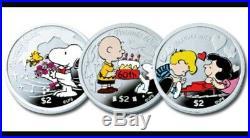 Niue 2010 $2 Celebrate Peanuts 60th Anniversary 3x 1 Oz Silver Proof Coin Set